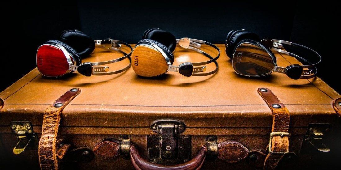 Headphones on briefcase