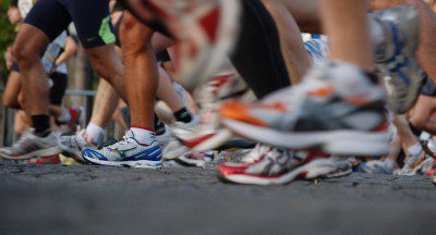 View of shoes during marathon