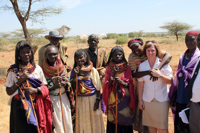 Major Brenda Murray with community members in Isiolo, Kenya East.