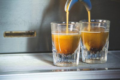 Pulling shots of Nomad Espresso, one of GoodWorks Coffee & Tea's most popular annual offerings.