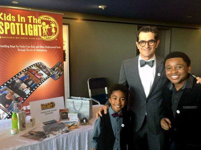 "Actor Ty Burrell of ""Modern Family"" with Kids In The Spotlight participants."