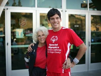 Sandy and Erik Weber stand in front of The Salvation Army Ray and Joan Kroc Corps Community Center in San Diego, Calif.