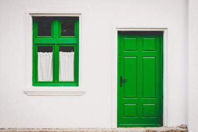 green door and green window