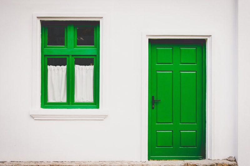 green door and green window