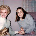 Joan Kroc with granddaughter Amanda sitting down