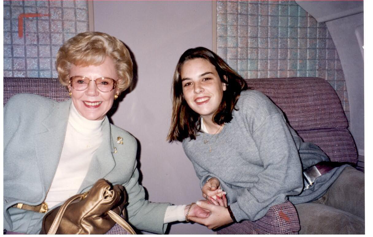 Joan Kroc with granddaughter Amanda sitting down