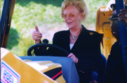 Joan Kroc giving thumbs up