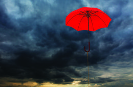 umbrella near clouds