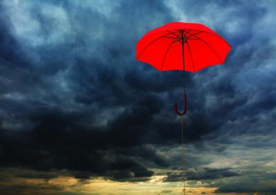umbrella near clouds