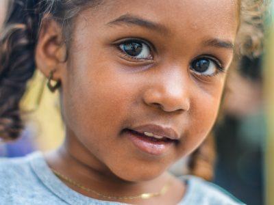 Closeup of young girls face
