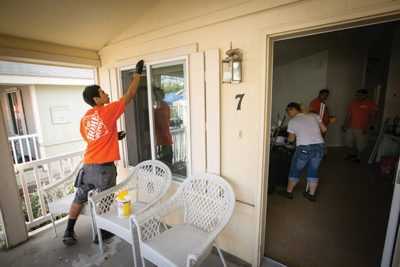 Team Depot volunteers gave The Salvation Army Bell Shelter, which sleeps more than 350 people a night, a facelift as part of an ongoing partnership.