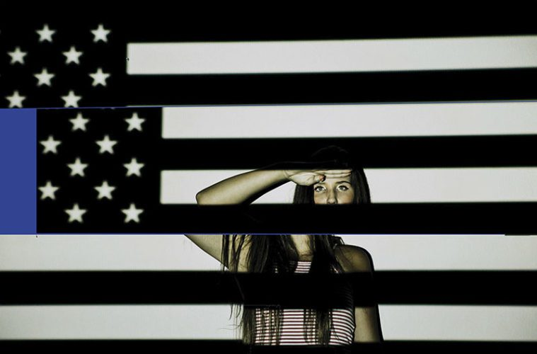Fractured American Flag graphic