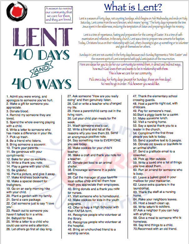 infosheet on what lent is and 40 suggestions of what to do