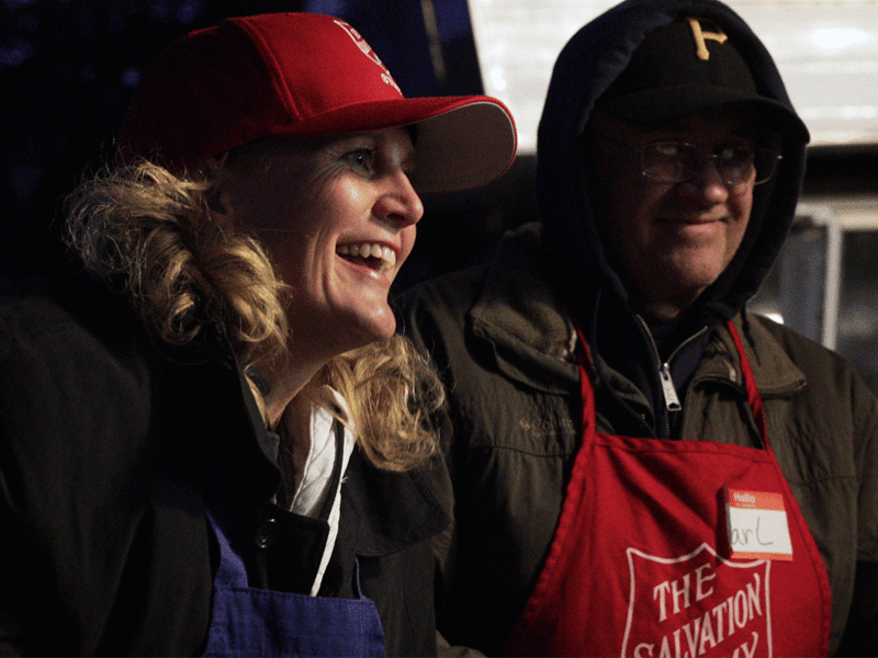 Two EDS volunteers smiling