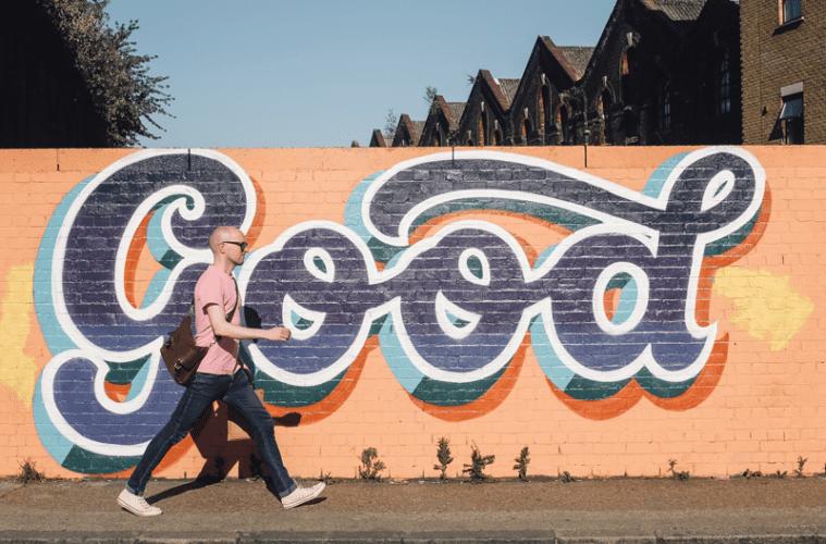 """""""Good"""" Mural on wall"""