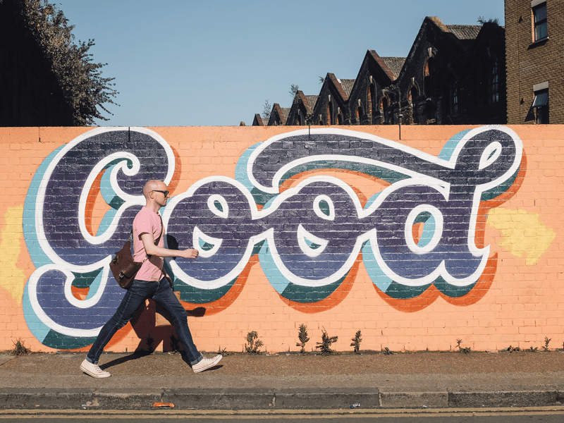 """Good"" Mural on wall"