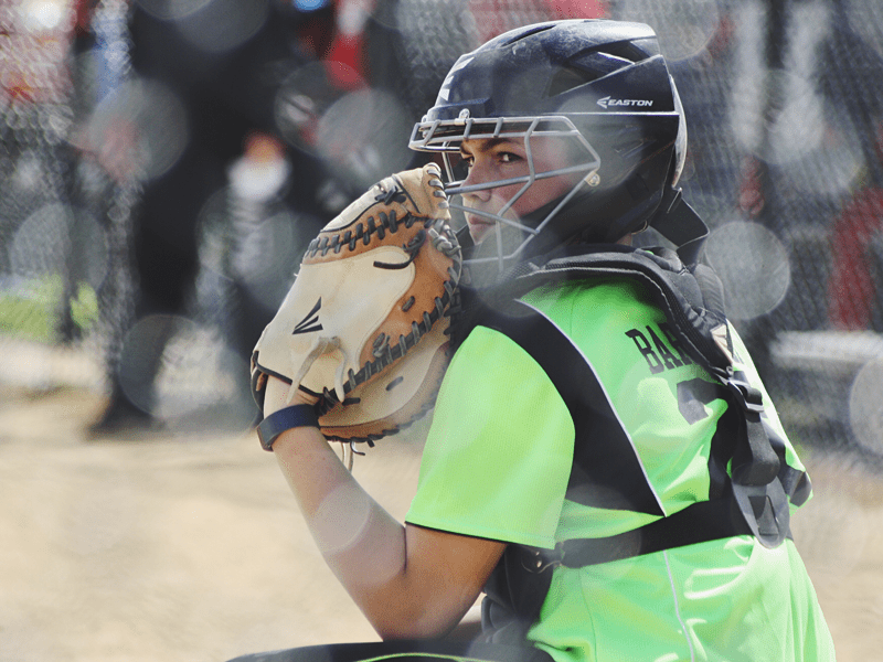 catcher during softball game