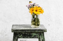 Flowers in vase on stool