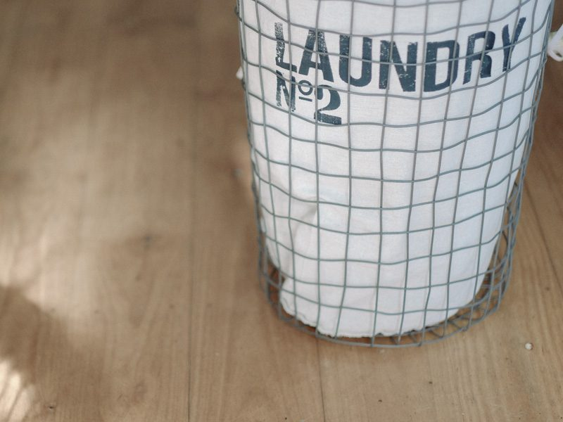 laundry bag on ground