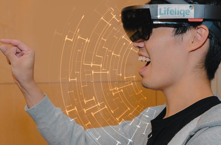 Profile of youth wearing augmented reality goggles