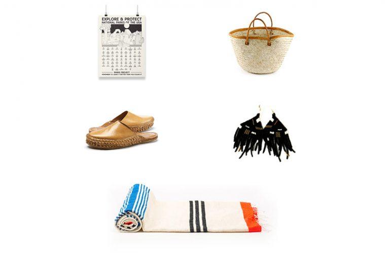 poster, sandals, basket, blanket, and earrings