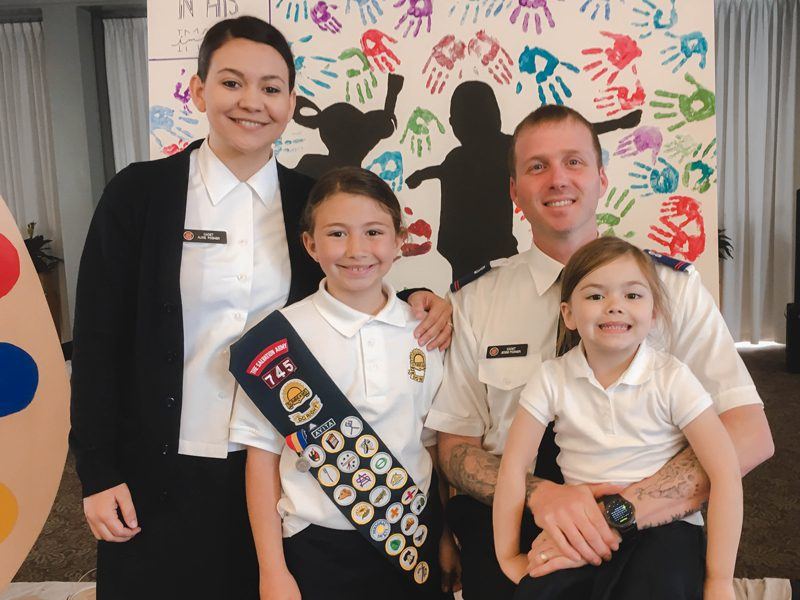 Lt. Jesse Posner with wife and kids