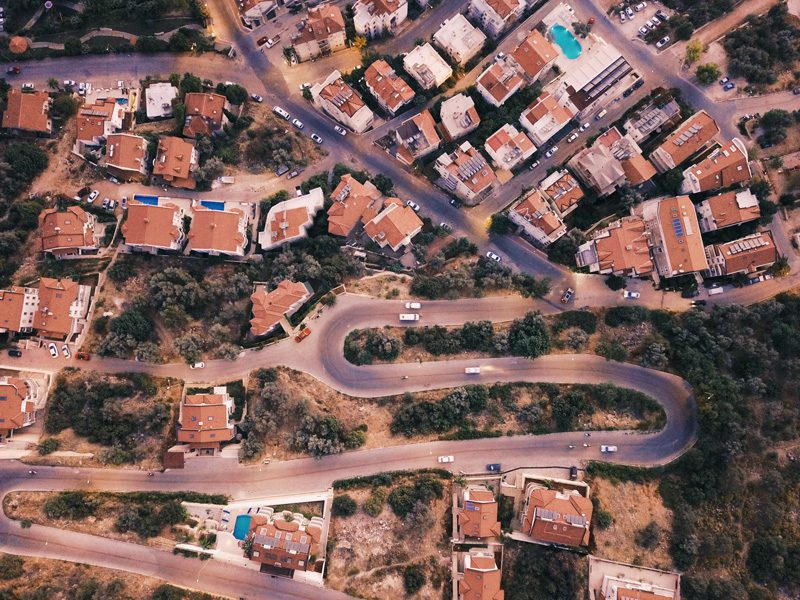 birds eye view of houses and roads