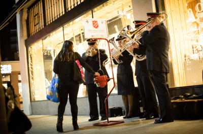 Band playing at red kettle