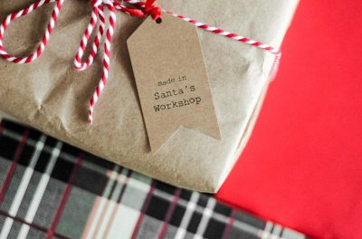 Closeup of present with recyclable wrapping paper