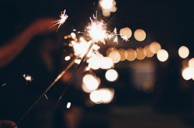 Closeup of sparkler at night