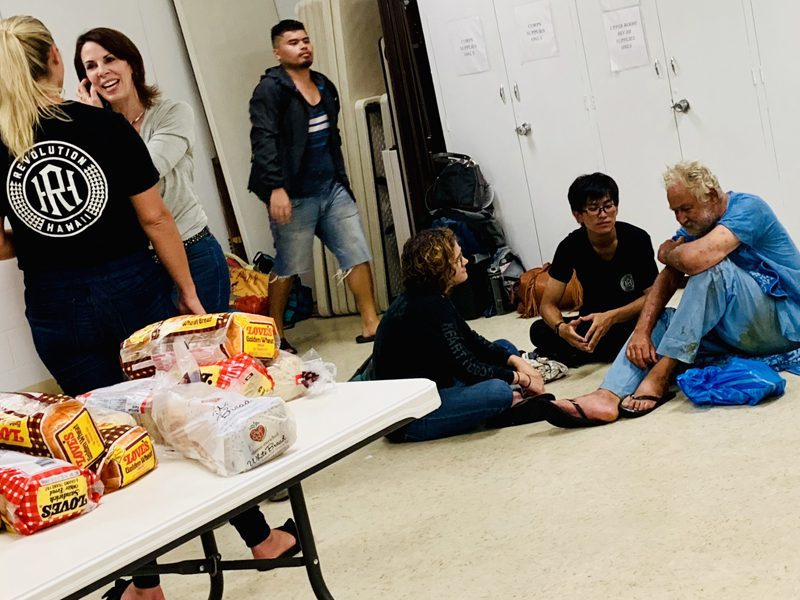 Homeless inside with Sandwich Ministry members