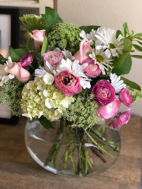 Bouquet of Flowers in Clear Vase