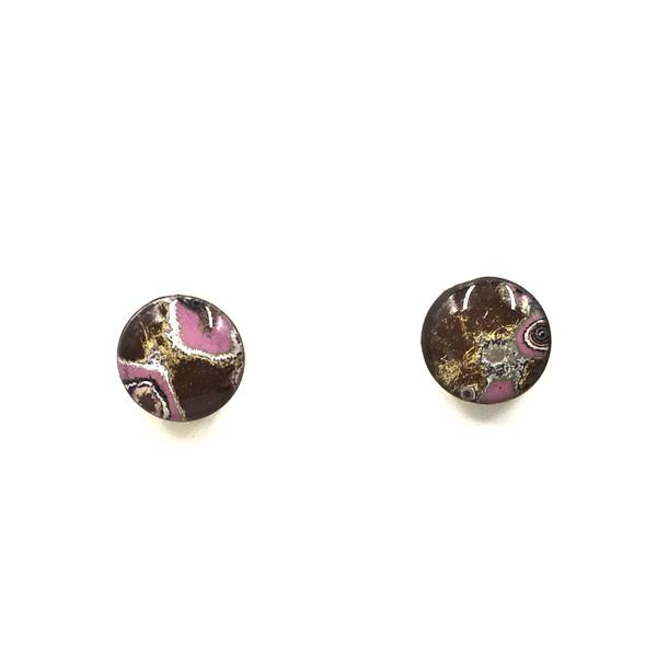 Dark Colored Earrings with Pink Accents by Rebel Nell