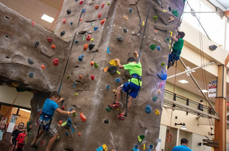 San Francisco Kroc Center Adventure Day Camp Participants on Rock Climbing Wall