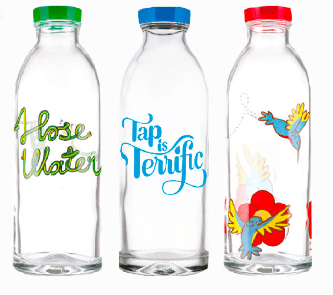 Three Faucet Face Water Bottles with Different Logos