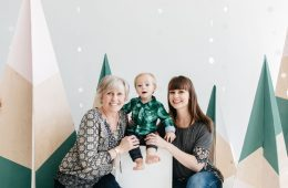 Christin Thieme, Her Mother, and Christin's young son pose for holiday photo
