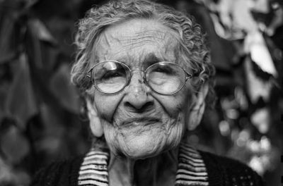 Closeup of Elderly Woman Smiling