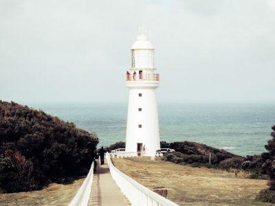 White Lighthouse on Edge of Cliff