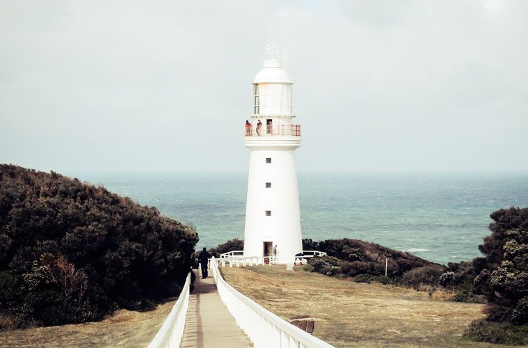 White Lighthouse on Edge of Cliff