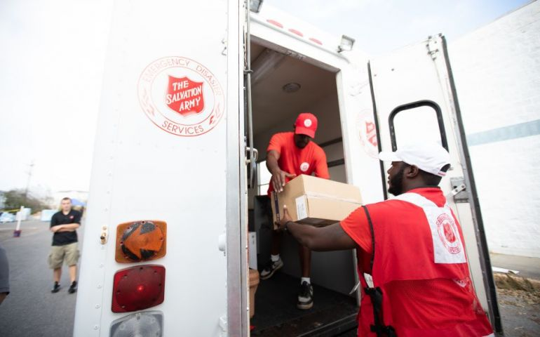 Emergency Disaster Services distribute supplies from EDS van