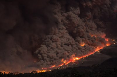 aerial shot of wildfire