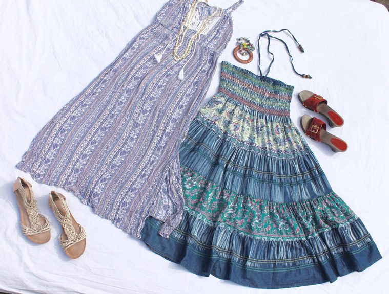colorful dresses and shoes for hippie costume