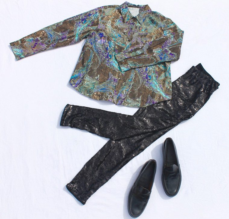 shiny shirt and pants with black shoes for male disco costume
