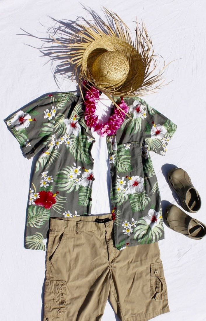 Hawaiian shirt, straw hat, shorts, and sandals for tourist costume