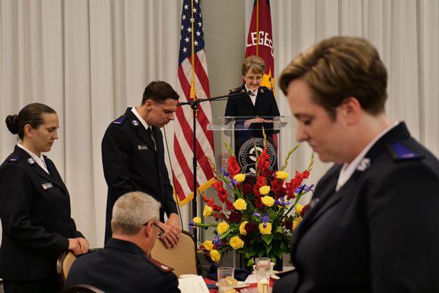 Commissioner Jolene K. Hodder speaks at podium during welcome banquet