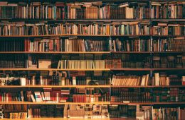 Books on Shelves in Library