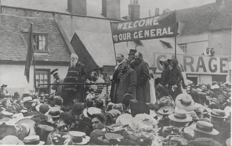 General William Booth speaking to crowd