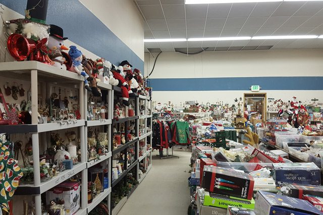 Shelves Full of Toys and Christmas Supplies