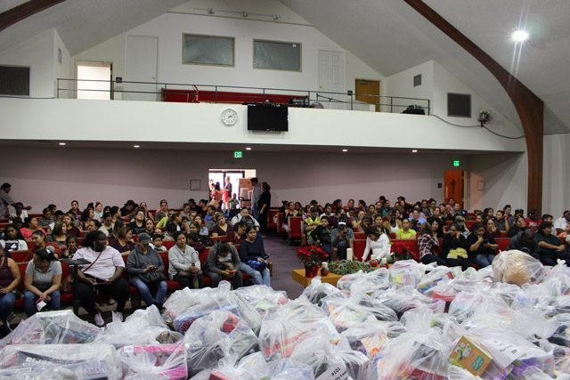 Toy Donations in Front of Group
