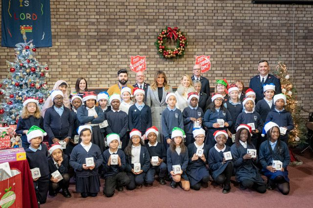 Melania Trump With Group of Children in England